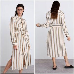 Zara striped linen blend tunic dress w/ pockets